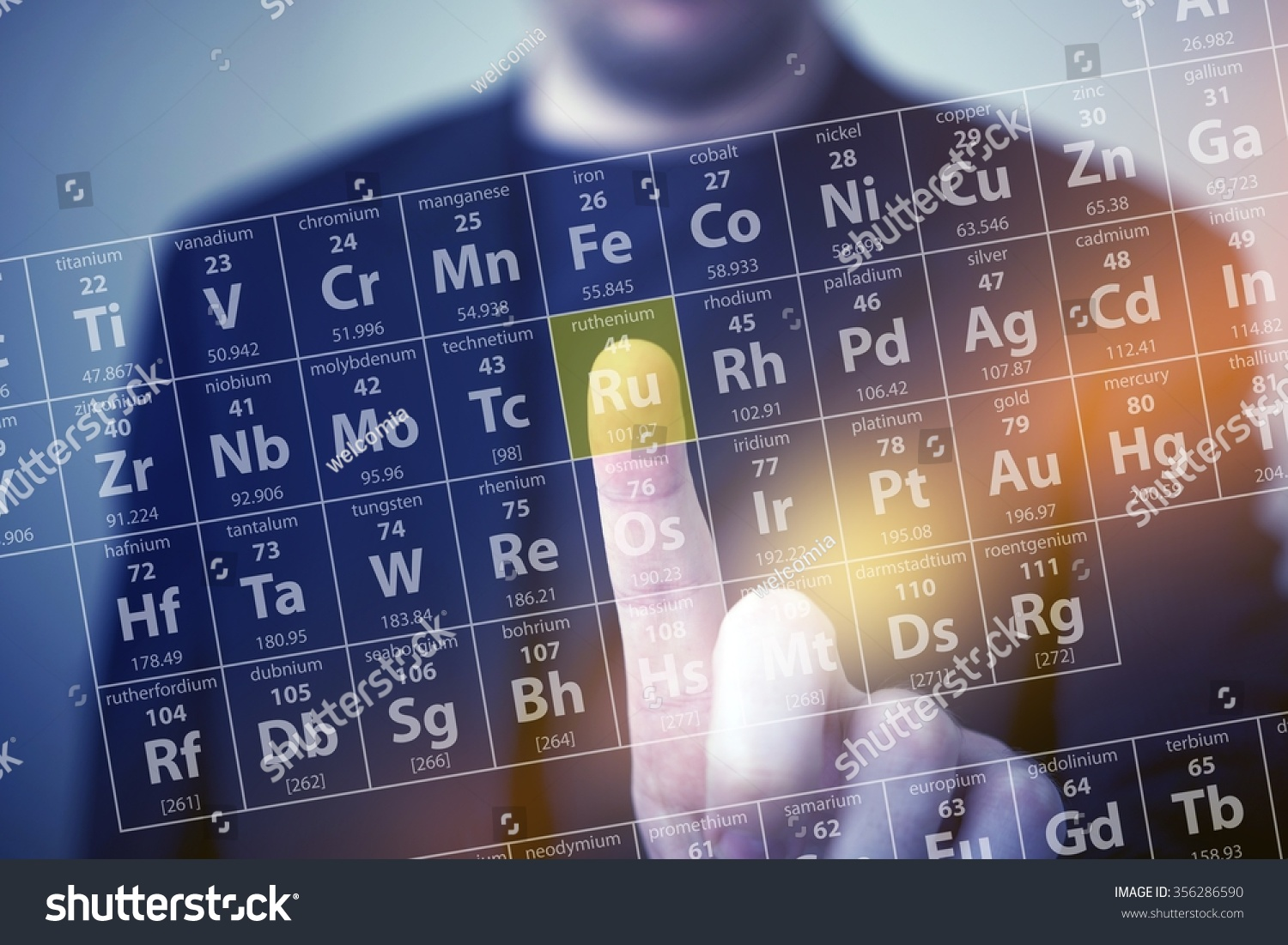 Periodic Table Elements Touch. Periodic Table Chemical Concept With Men  Touching Some Element By His