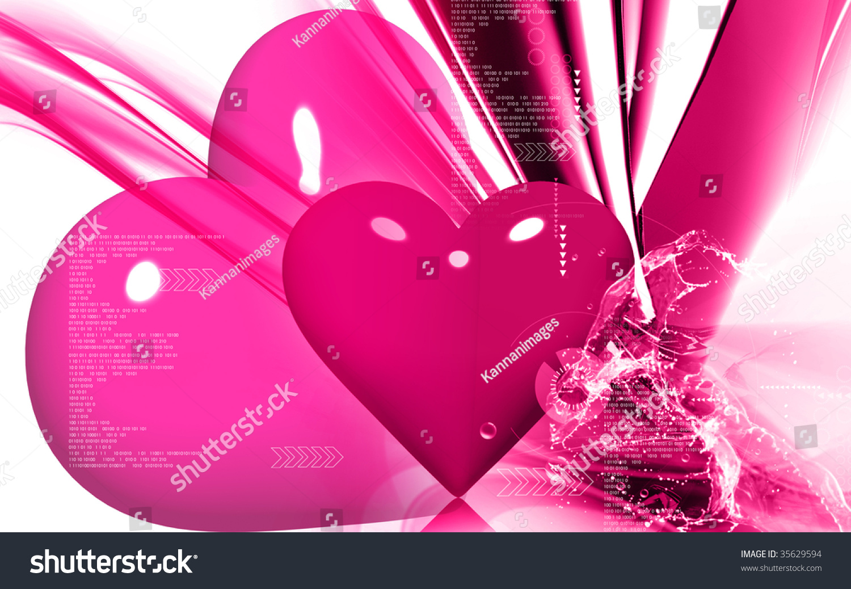 Digital Illustration Love Symbol Colour Background Stock