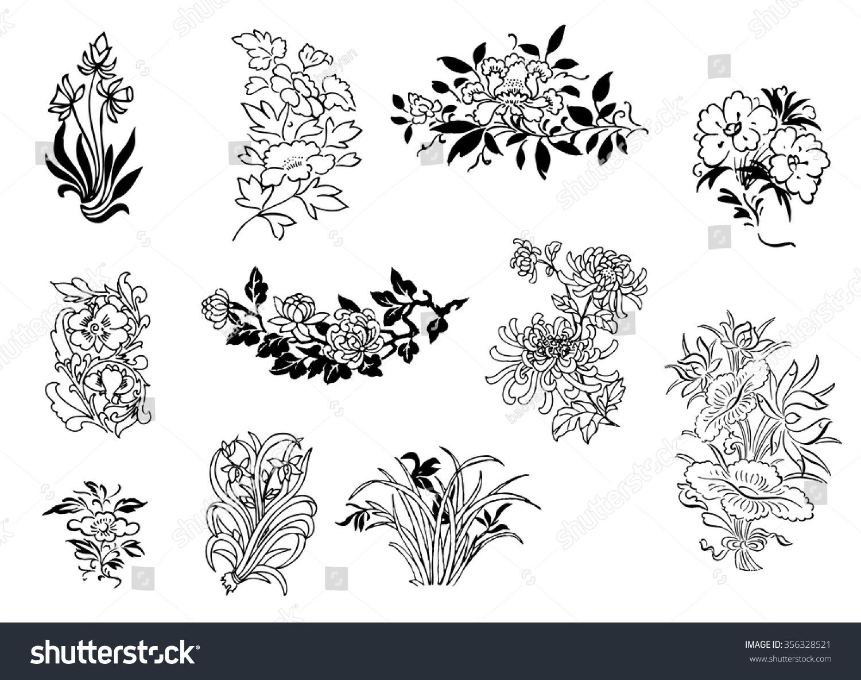 Chinese Flower Line Drawing : Image gallery oriental flower drawings