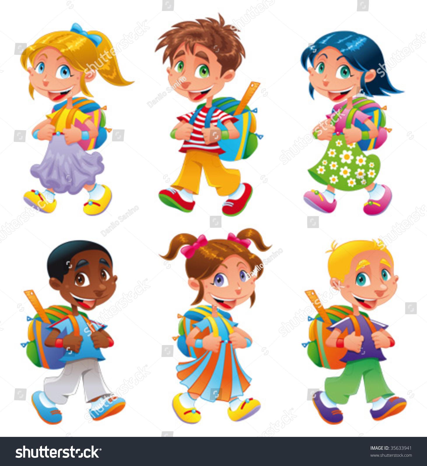Funny Cartoon Images Of Boys boys girls go school funny cartoon stock vector (royalty