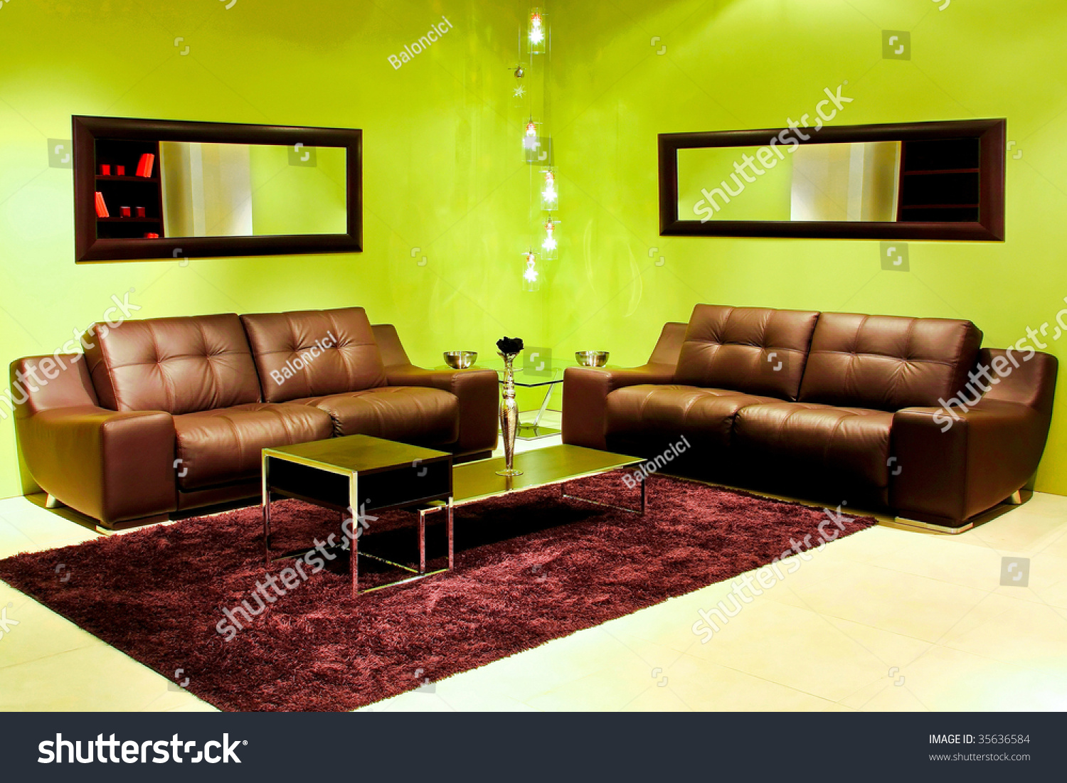 Modern living room vivid green walls stock photo 35636584 for Modern living room green