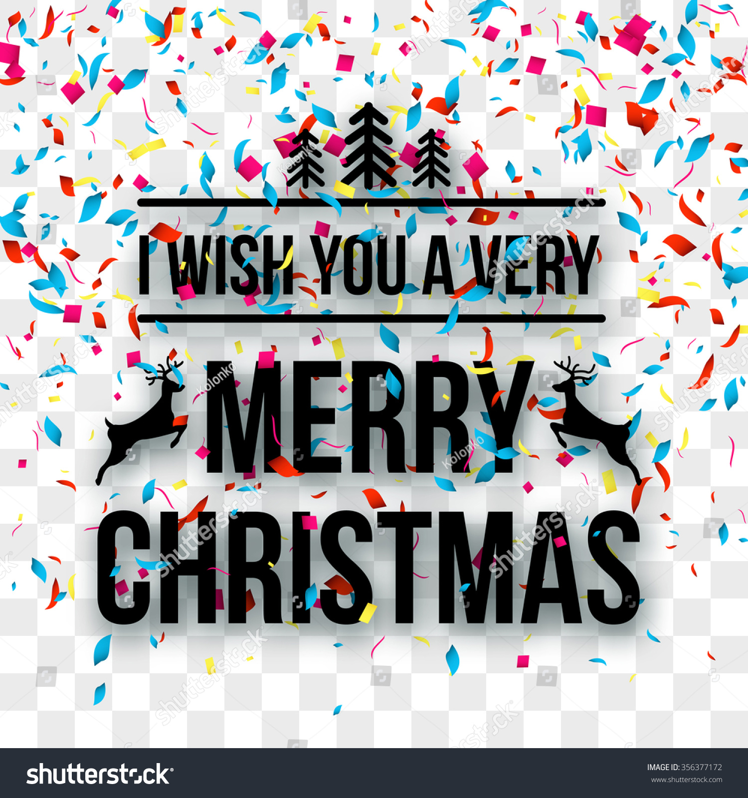 Merry Christmas Letters Words On Transparent Stock Vector ...