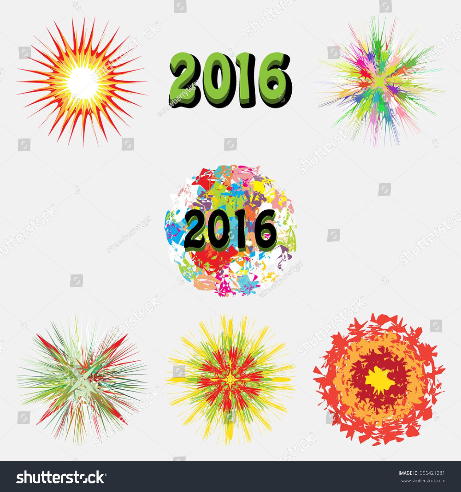 new year collection of themed colored starbursts fireworks explosion isolated vector symbols