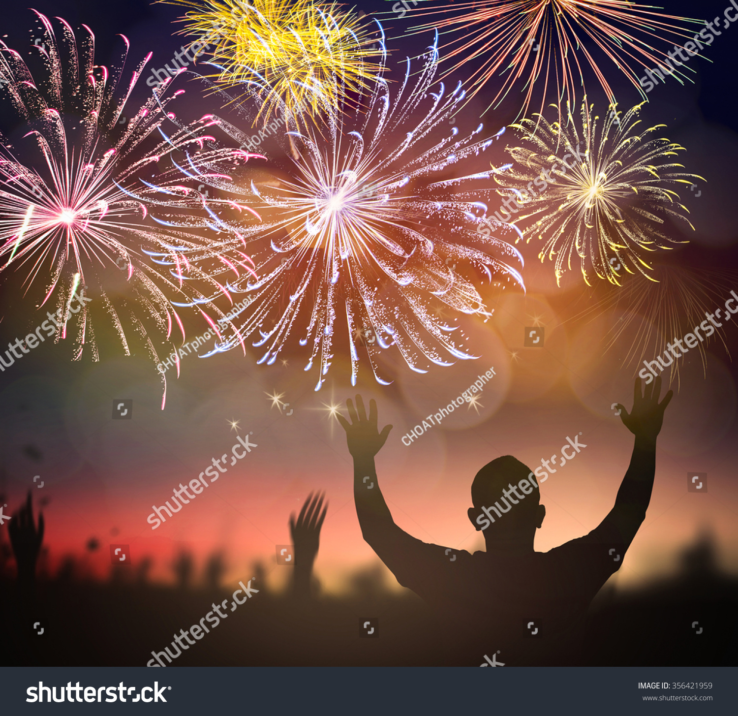 happy new year 2019 concept people raised hands to worship god on fireworks with night