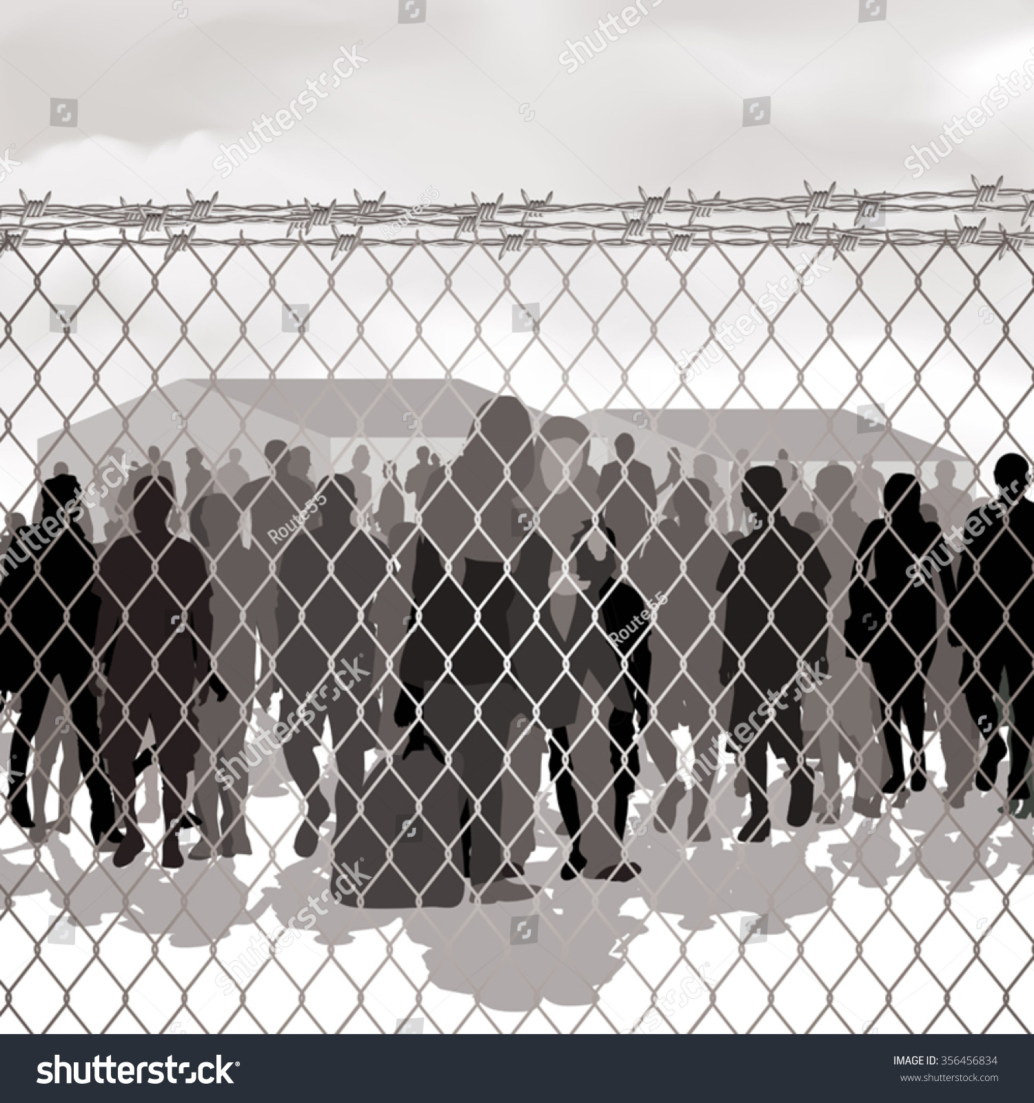 Refugees Behind Chain Link Fence Barbed Stock Vector (2018 ...