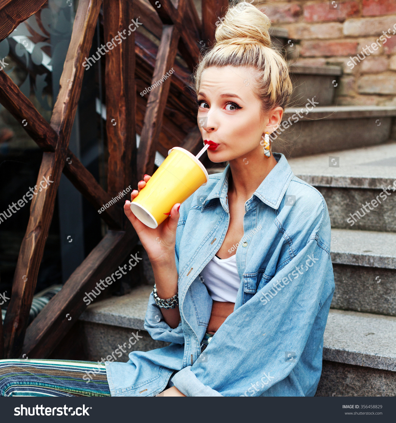 Outdoor Fashion Hipster Style Portrait Beautiful Stock Photo 356458829 Shutterstock