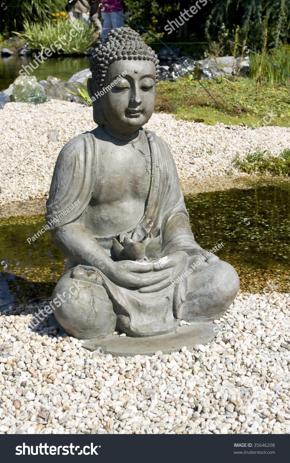 Sitting Buddha Lotus Flower Hands Stock Photo Edit Now 35646208