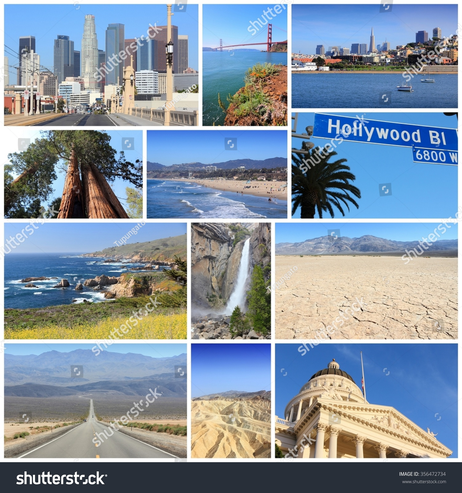 California Travel Collage Los Angeles San Foto de stock (libre de ...