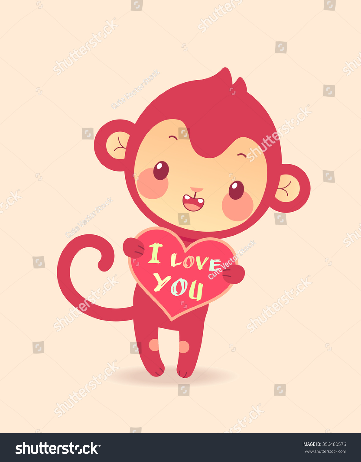Cute cartoon monkey love - photo#6