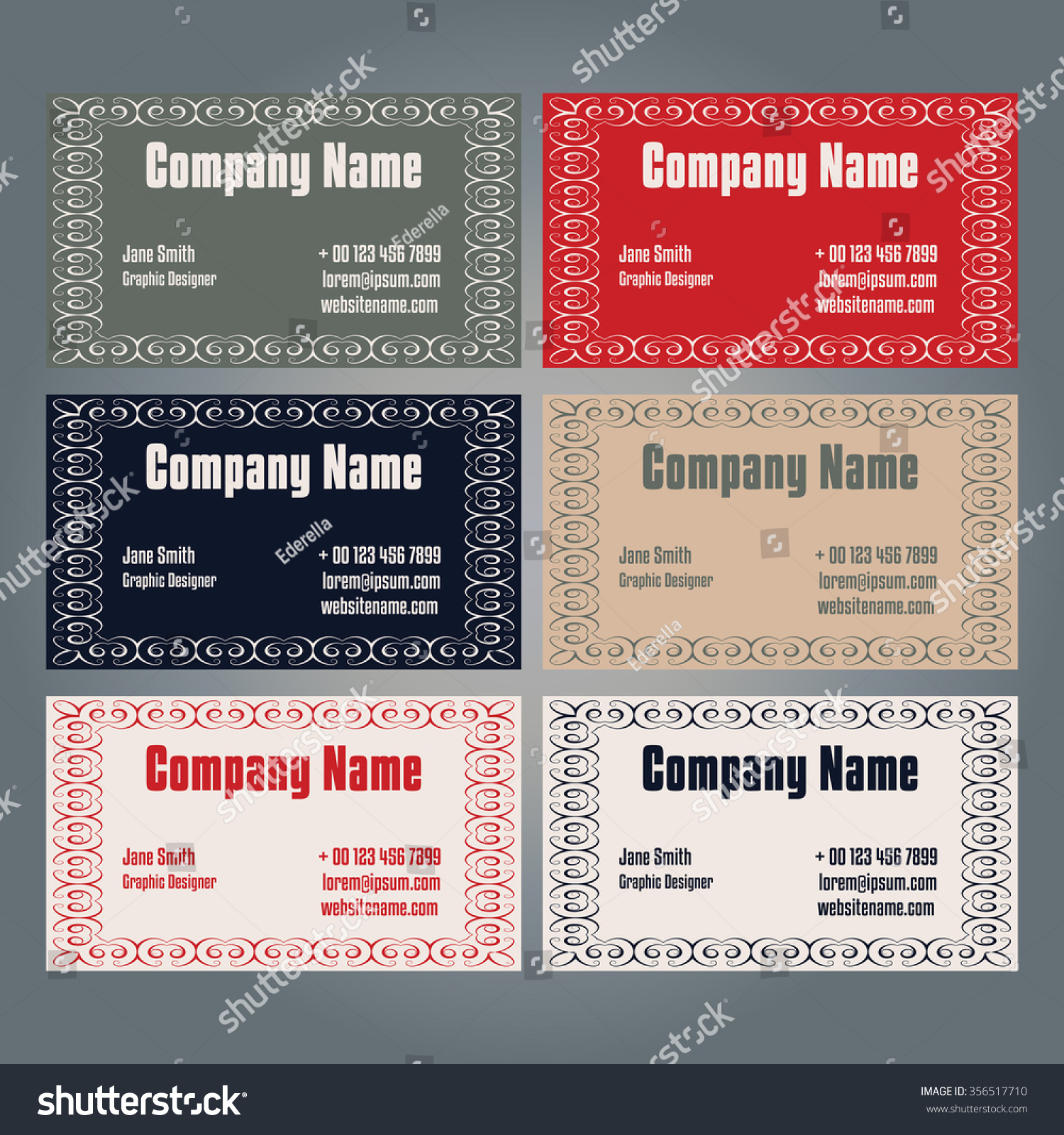 Set esided Business Card Templates Six Stock Vector