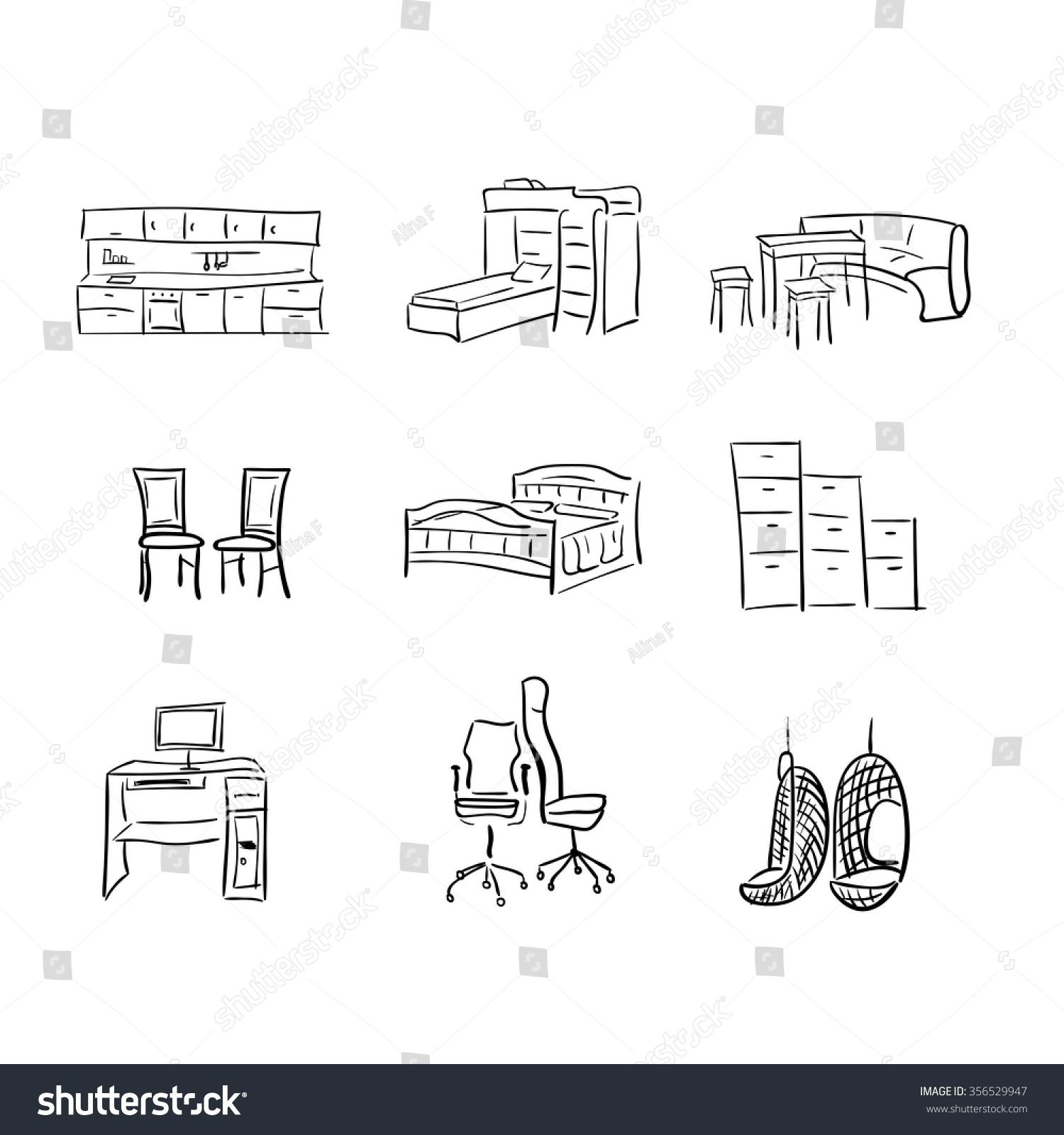 Kitchen Sofa Furniture Set Sketch Furniture Elements Sofa Kitchen Stock Vector 356529947