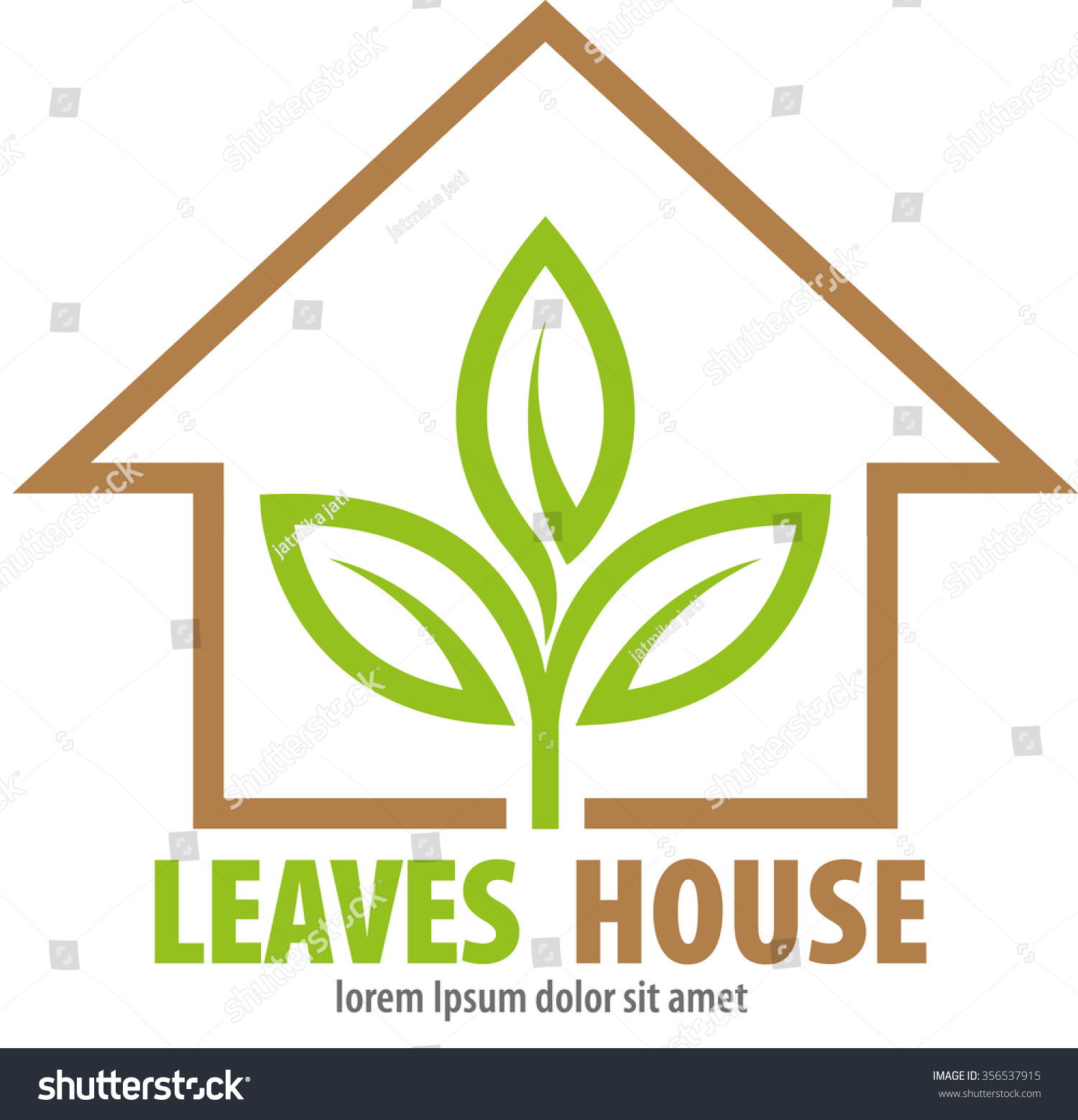 Abstract Vector Shape Leaves Home Symbol Stock Vector Royalty Free