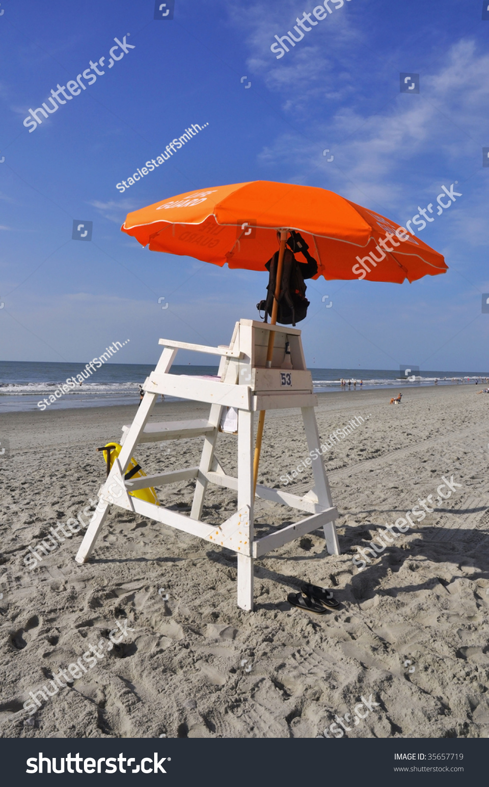 Lifeguard Chair On Myrtle Beach South Carolina With Orange Umbrella Stock Photo 35657719 Shutterstock