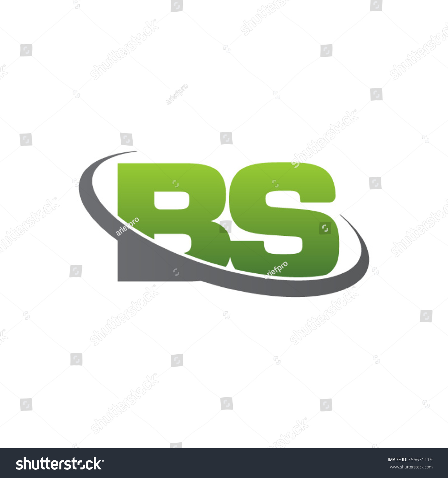 initial bs swoosh ring company logo green gray stock vector illustration 356631119 shutterstock. Black Bedroom Furniture Sets. Home Design Ideas