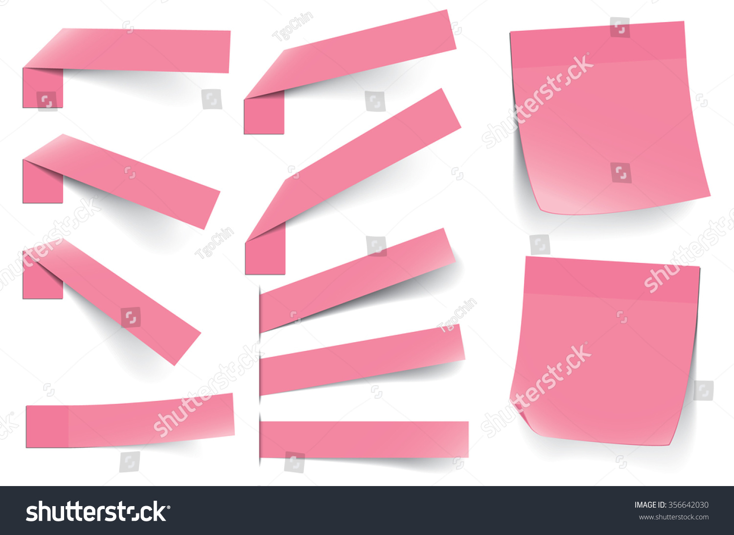 various sticky notes different sizes shapes stock vector royalty