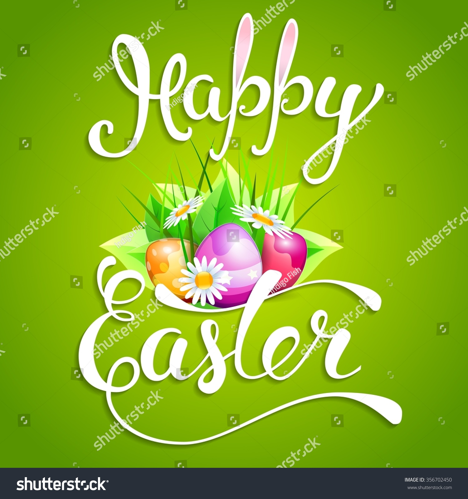 Easter Greeting Card With Easter Eggs And Handwritten Text Happy