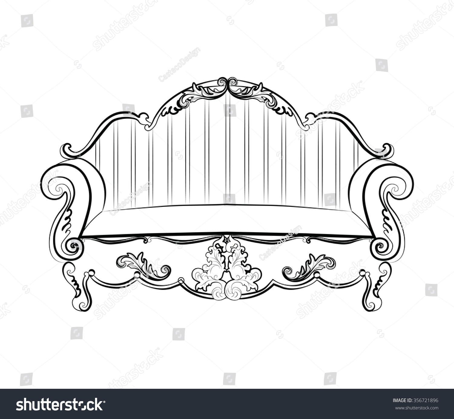 Rococo furniture sketch - Imperial Royal Sofa With Classic Rococo Damask Ornaments Vector Sketch