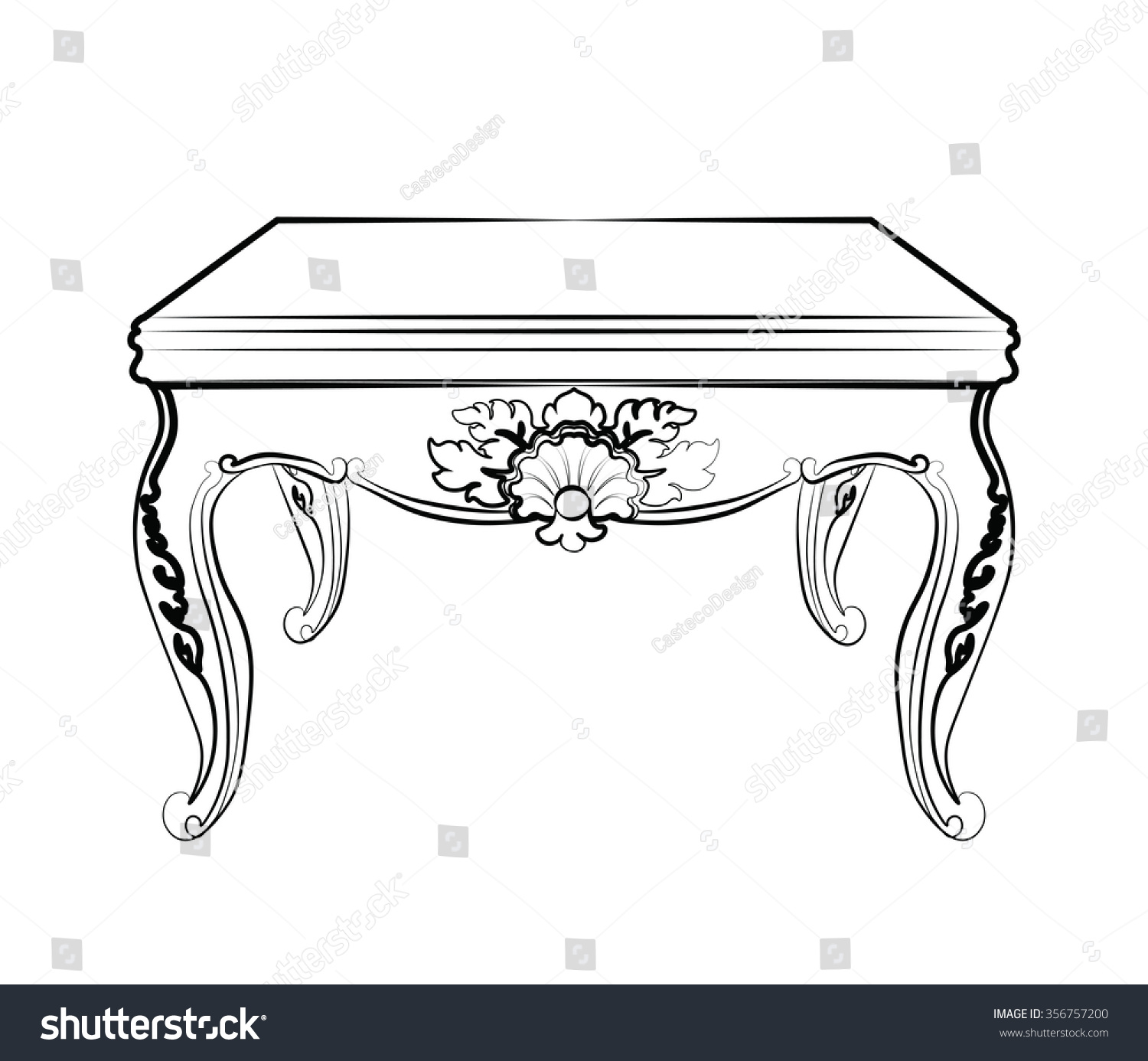 Rococo furniture sketch - Imperial Royal Table With Luxurious Damask Rococo Ornaments Vector Sketch