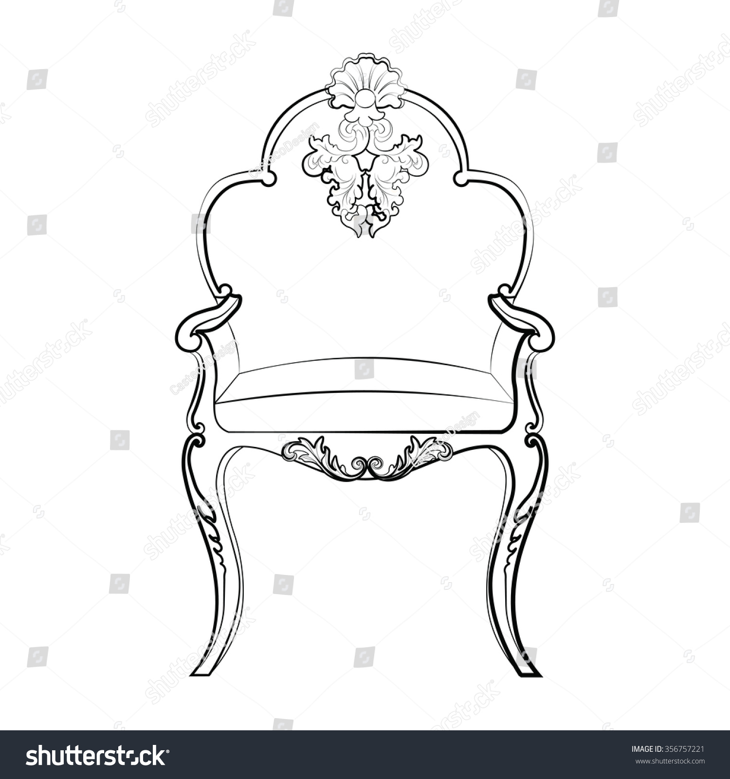 Rococo furniture sketch - Imperial Royal Chair With Classic Rococo Damask Ornaments Vector