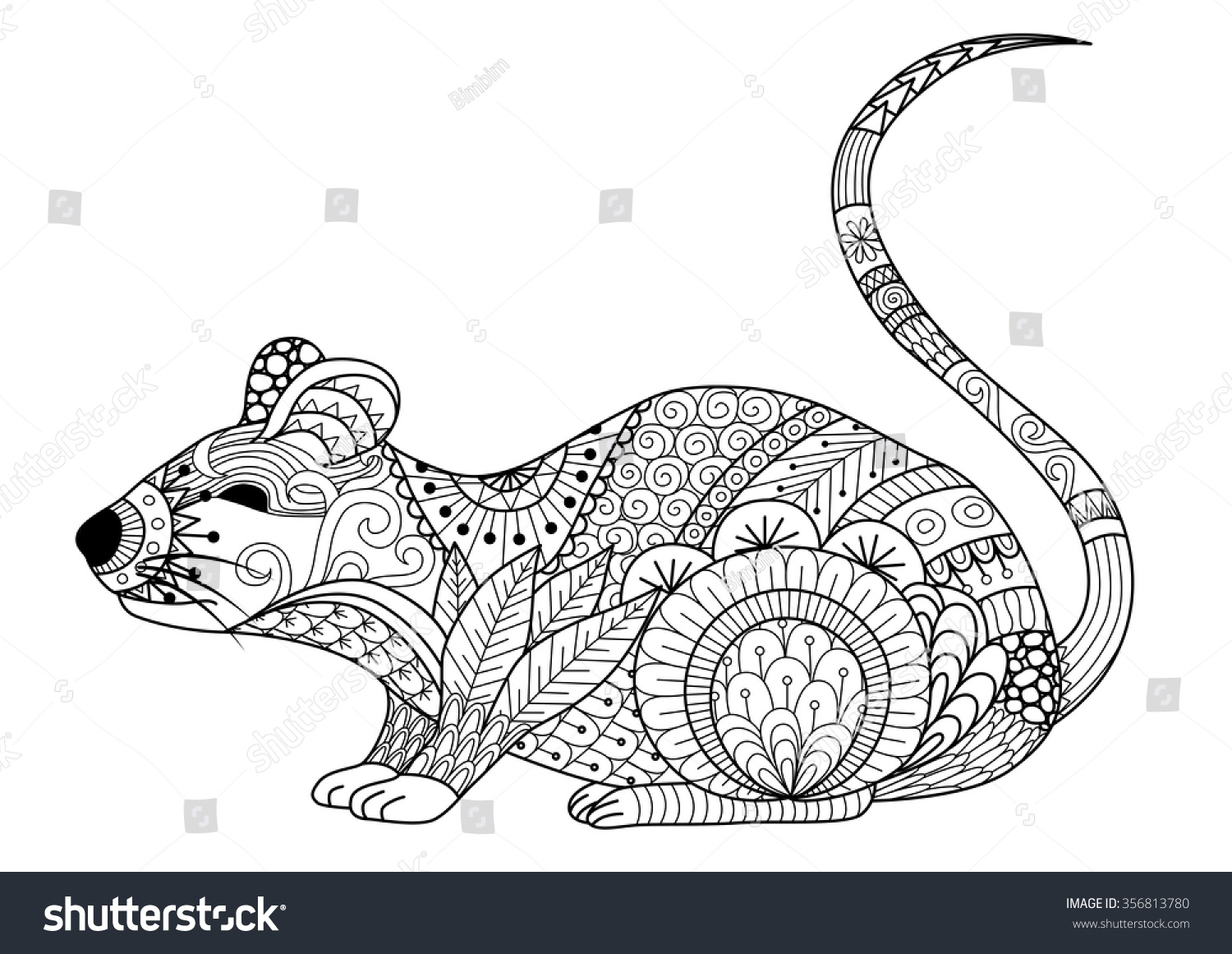 Ze zen inspiration coloring book - Hand Drawn Zentangle Mouse For Coloring Book For Adult And Other Decorations Download Image Ze Zen Coloring Book Pages