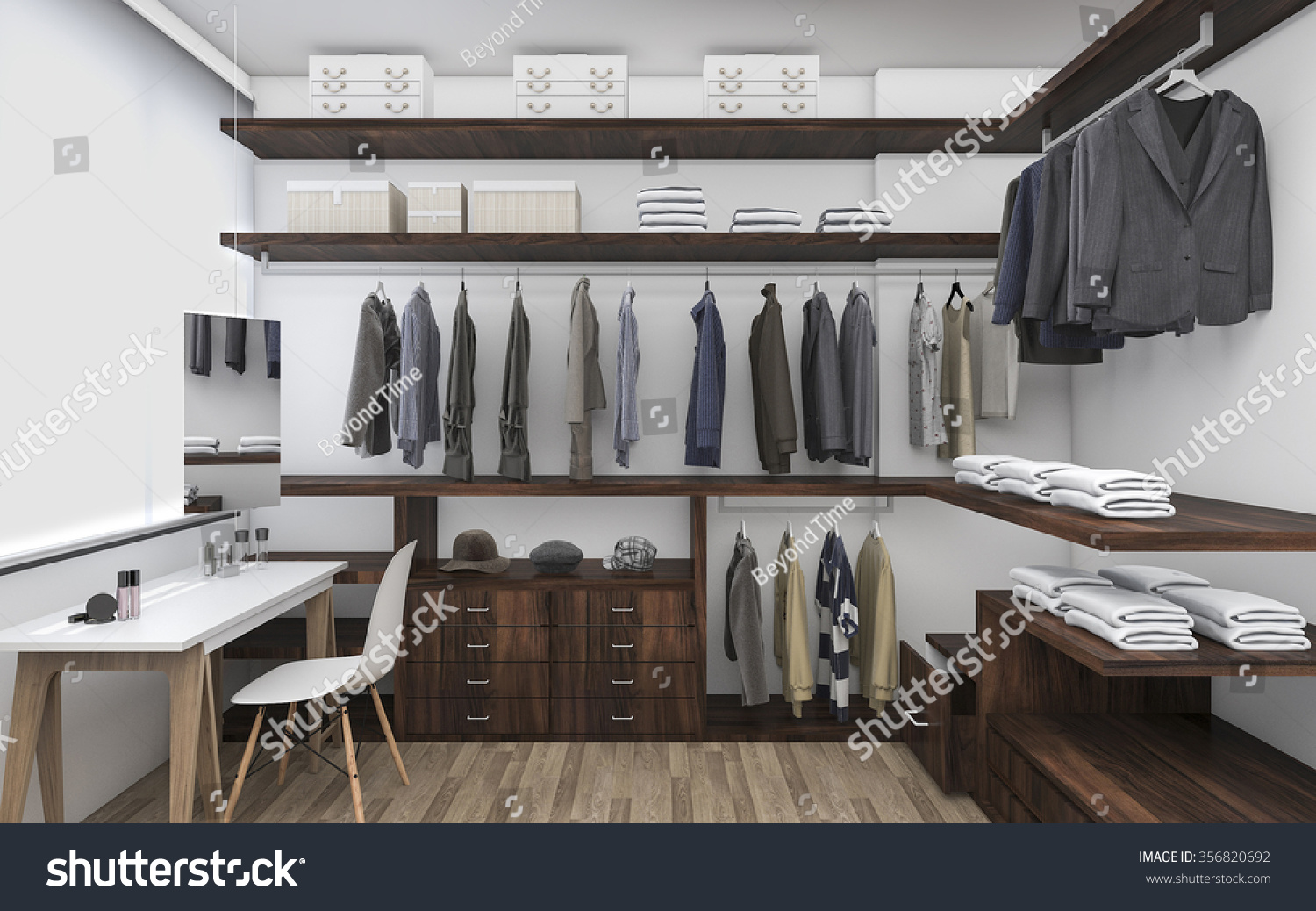 3D Rendering Walk In Closet With Make Up Table
