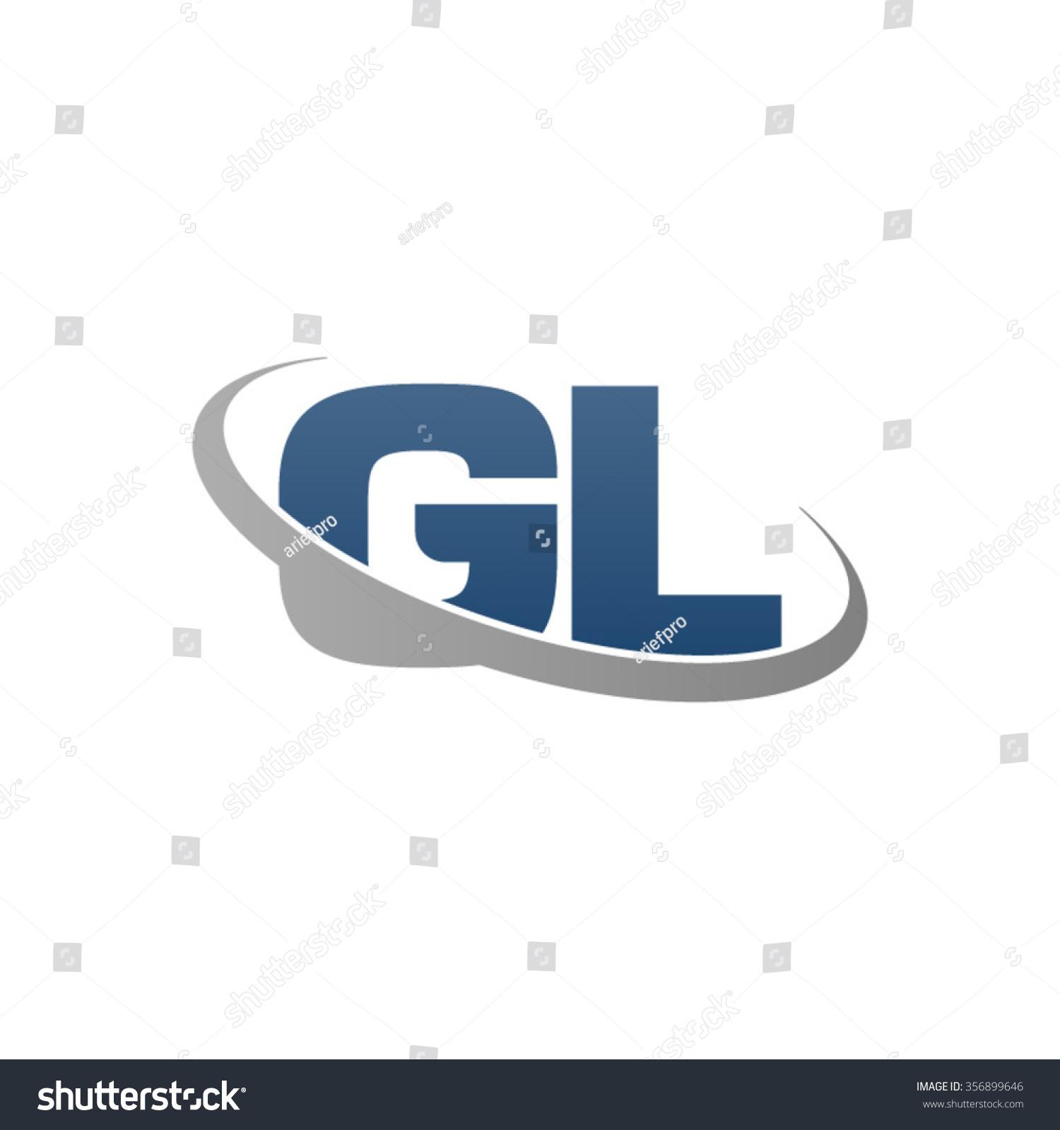 Tj initial luxury ornament monogram logo stock vector - Initial Letter Gl Swoosh Ring Company Logo Blue Gray
