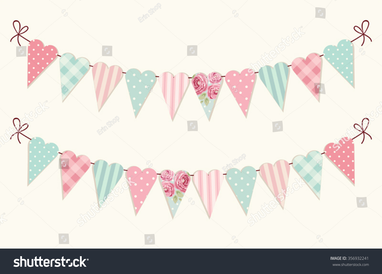 Vector bunting flags lovely celebration card with colorful paper - Cute Vintage Heart Shaped Shabby Chic Textile Bunting Flags Ideal For Valentines Day Wedding