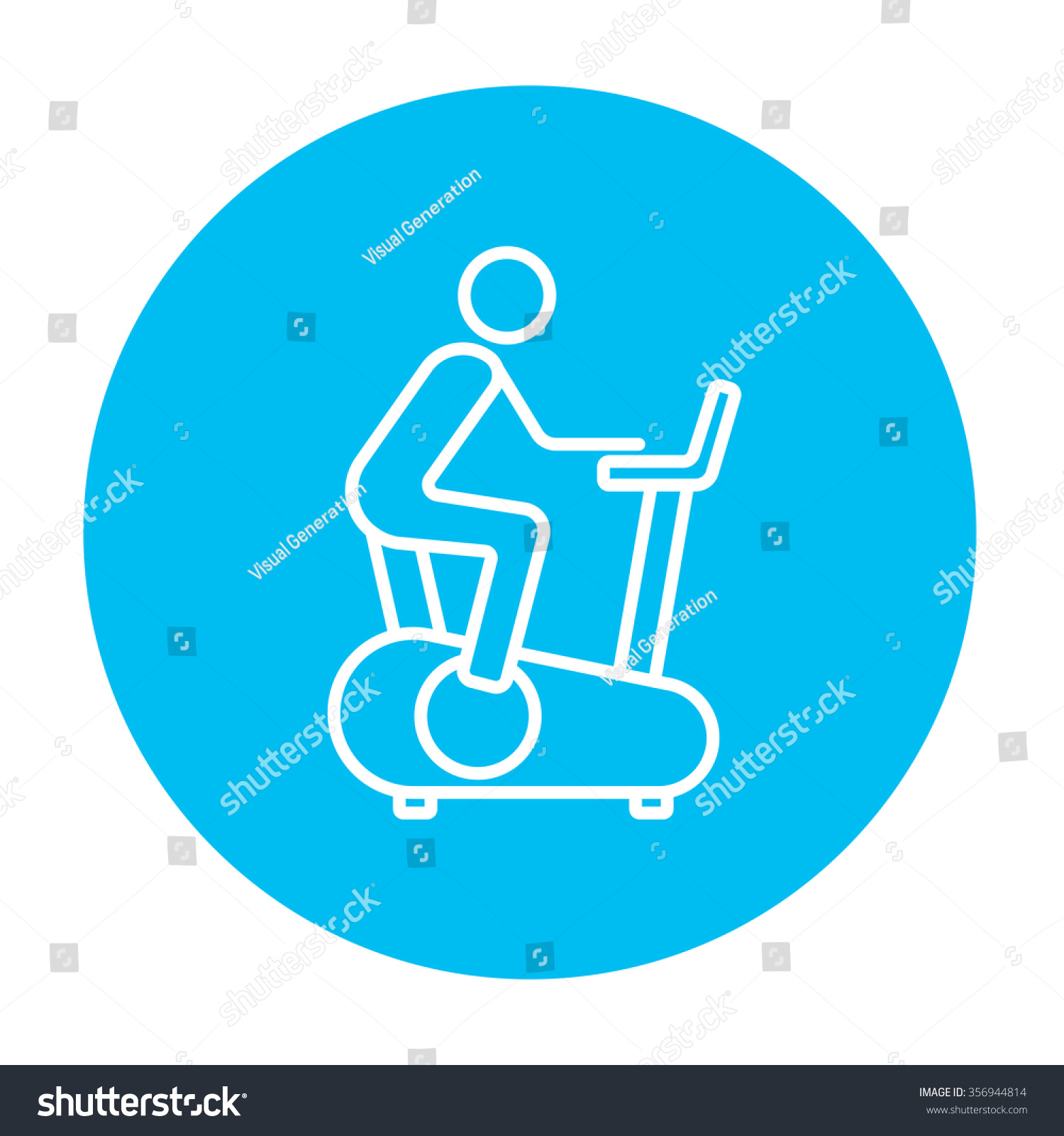 Man Training On Exercise Bike Line Stock Vector 356944814