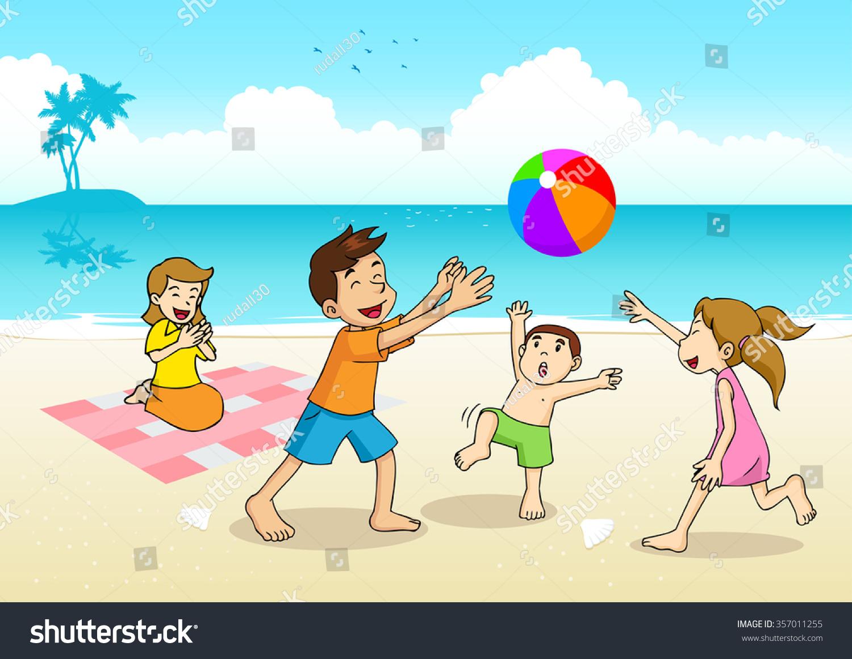 Cartoon Illustration Family Having Picnic Beach Lager ...
