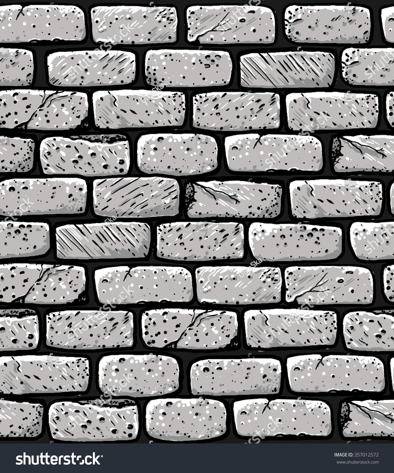 Hand Drawn Brick Wall Seamless Pattern Stock Vector
