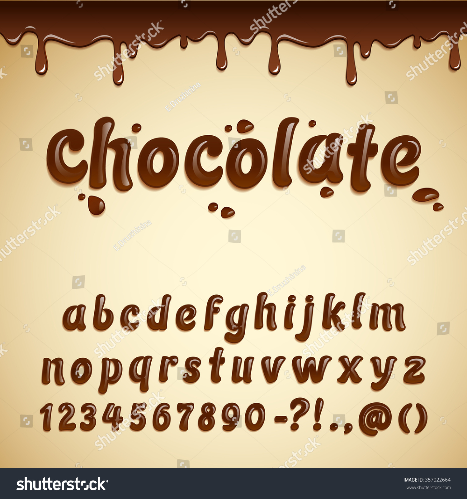 Latin Alphabet Made Dark Melted Chocolate Stock Vector