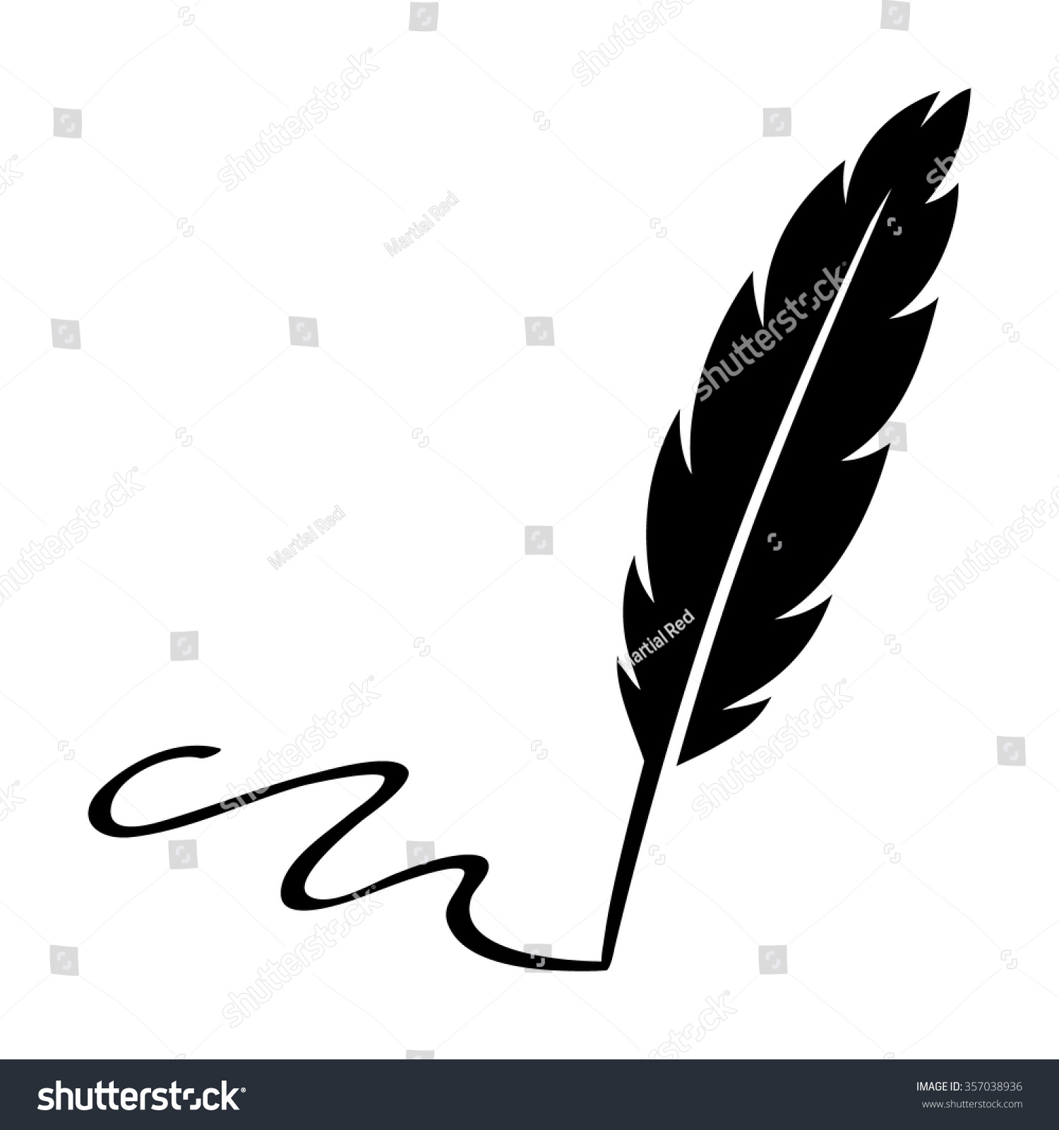 feather quill pen signing signature flat stock vector