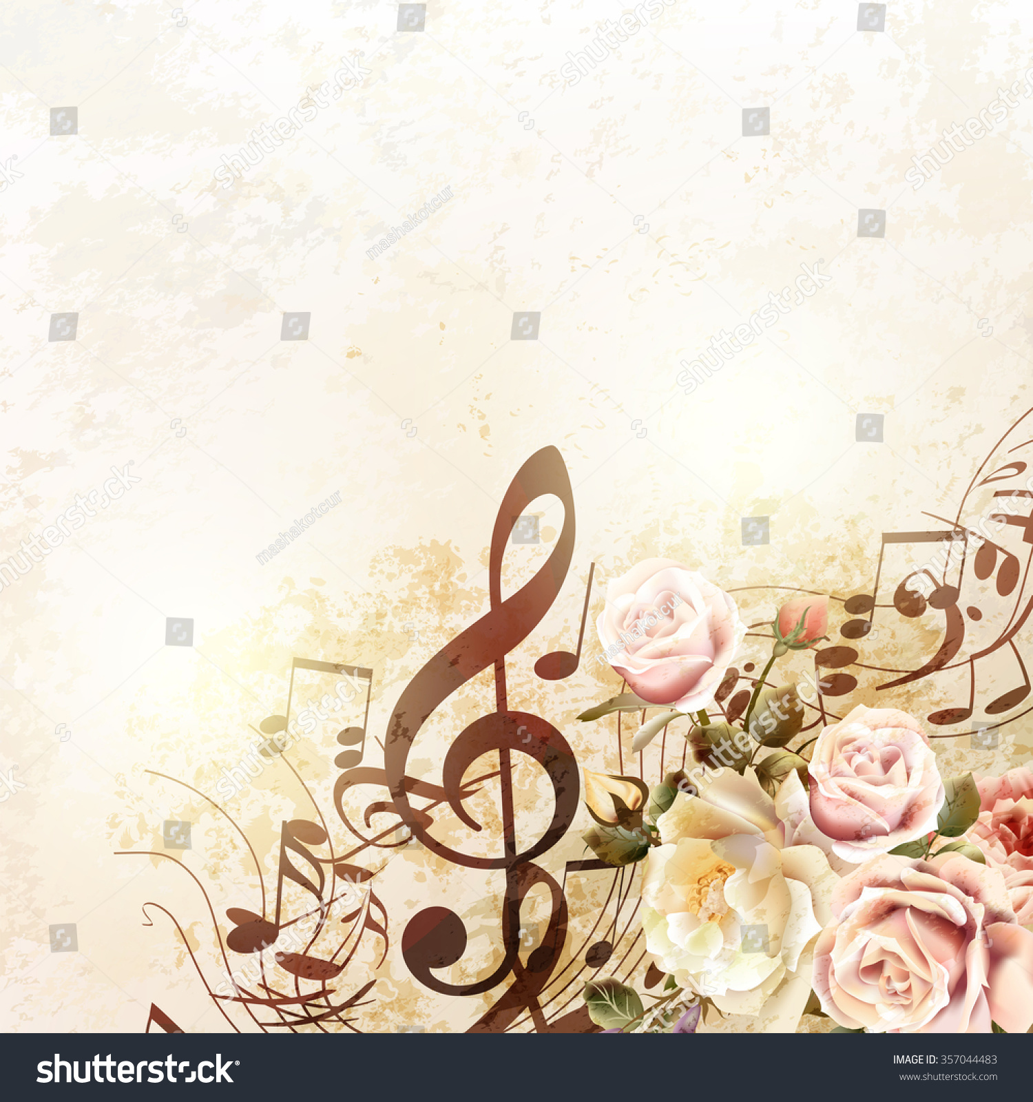 Grunge Vector Background Music Notes Rose Stock Vector