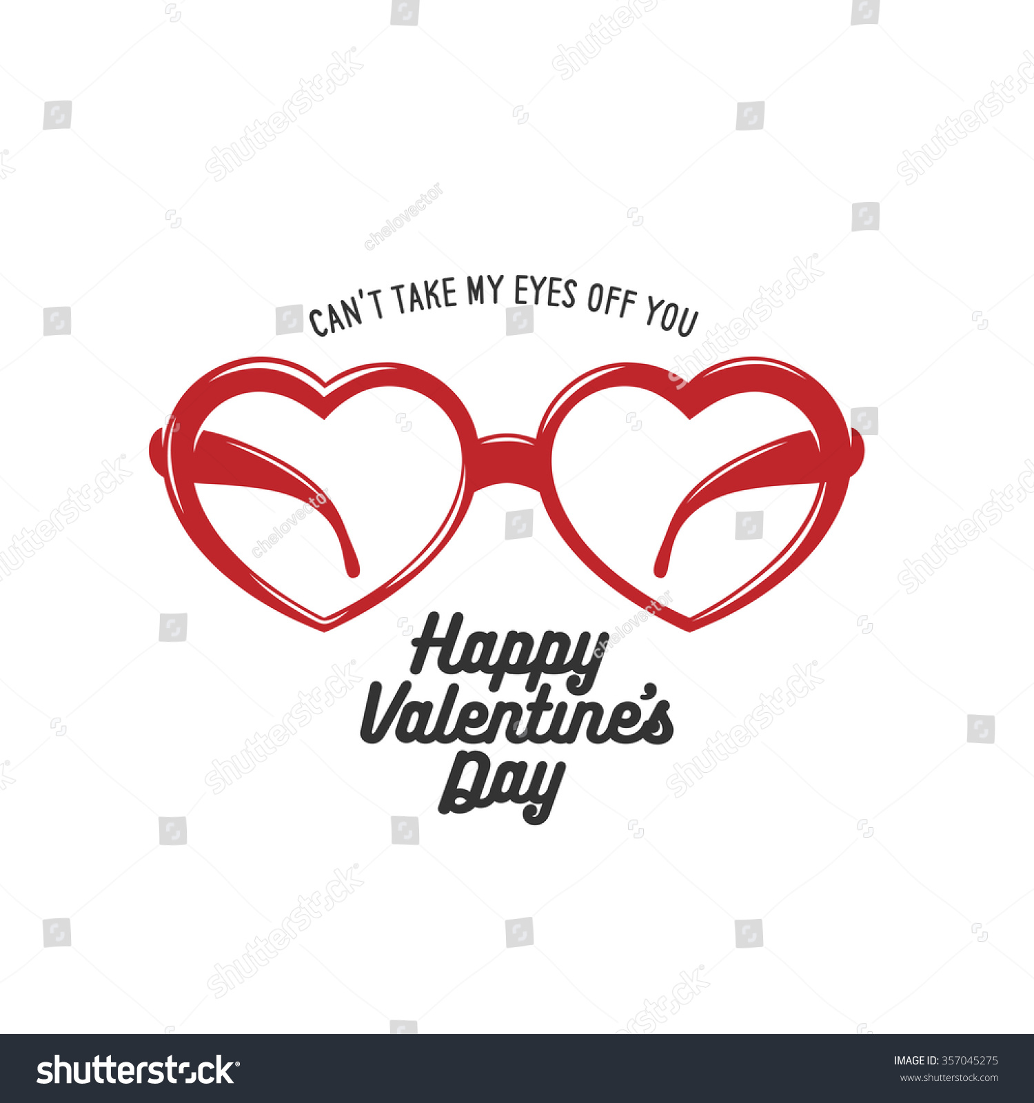 Valentine Day Card Heart Shaped Glasses Stock Vector HD Royalty