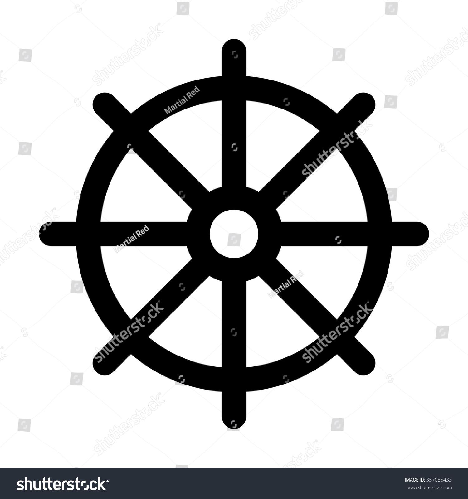 Dharmachakra Wheel Dharma Symbol Buddhism Hinduism Stock Vector
