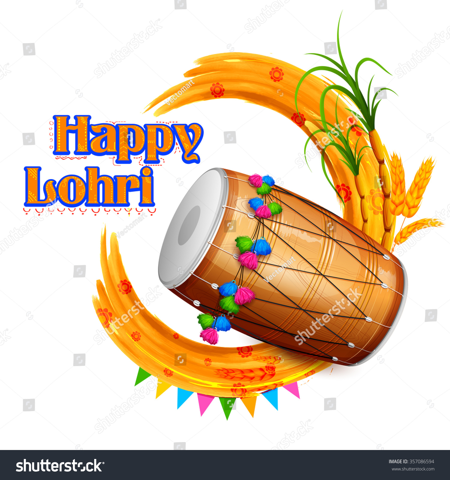 Illustration Happy Lohri Background Punjabi Festival Stock ...
