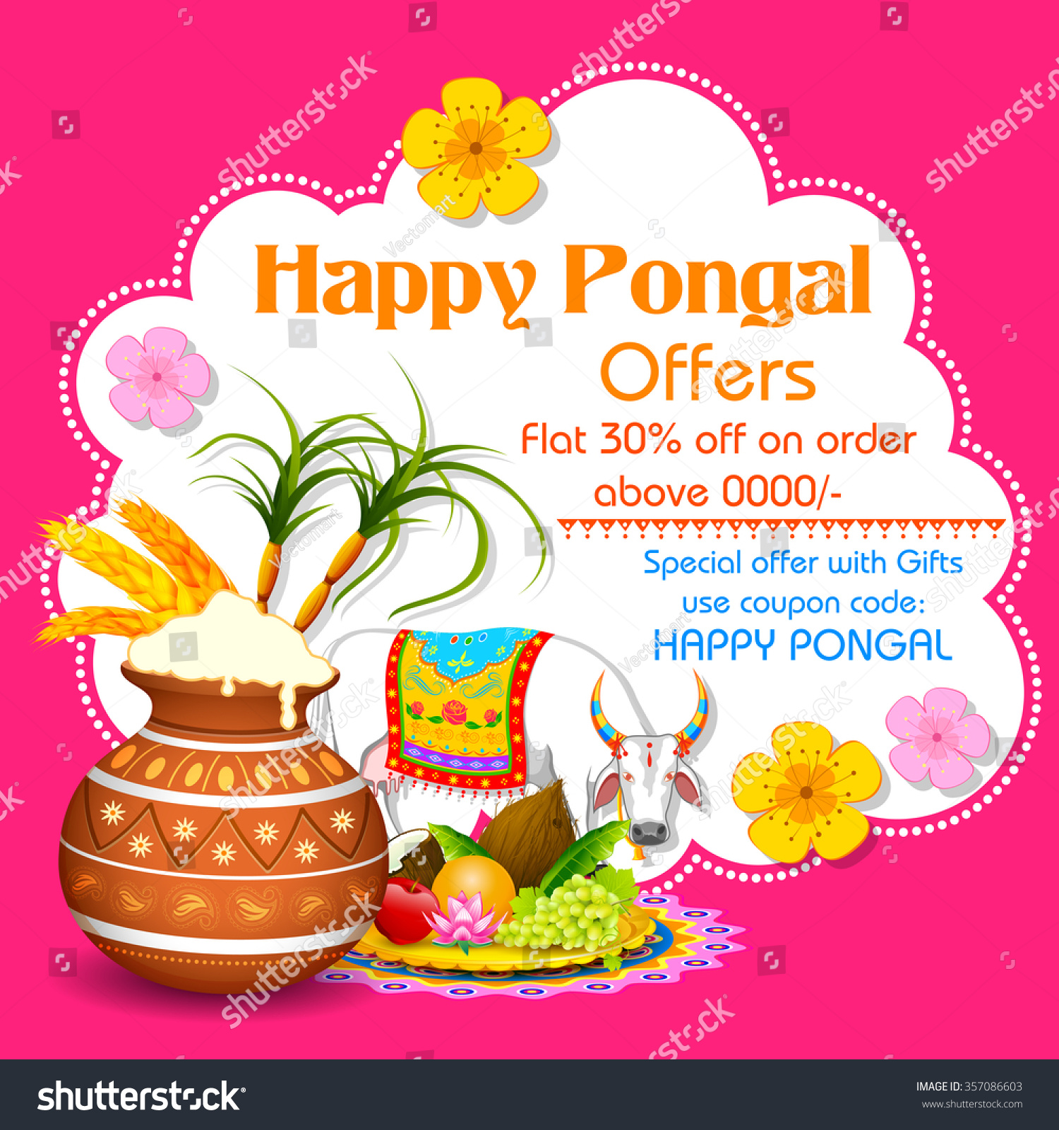 Illustration Happy Pongal Greeting Background Stock Vector Royalty