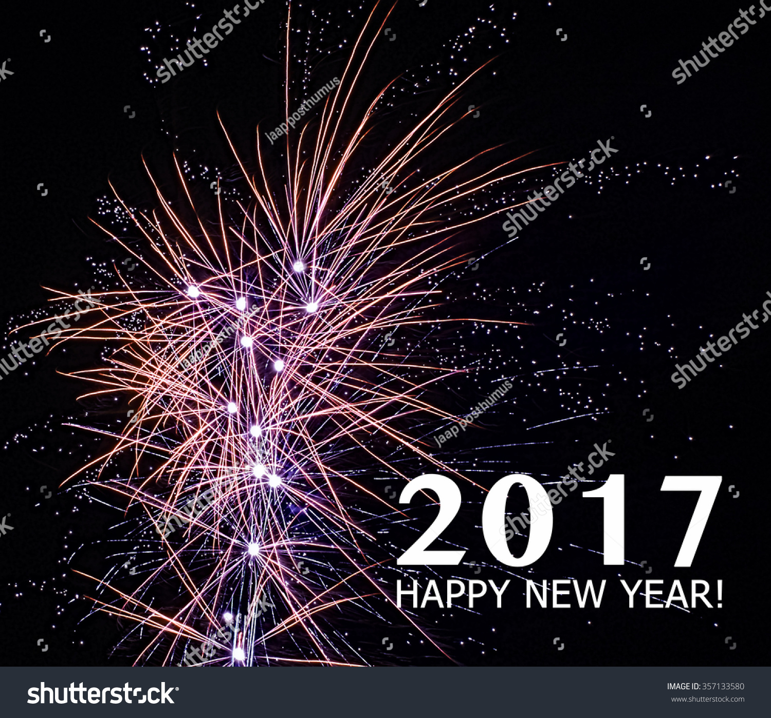 Happy New Year Fireworks 2017 Holiday Background With ...
