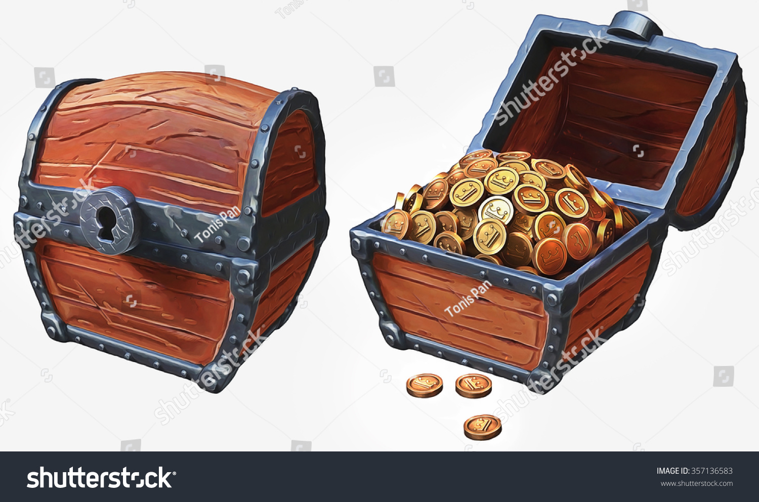 illustration treasure chest icons locked open stock illustration