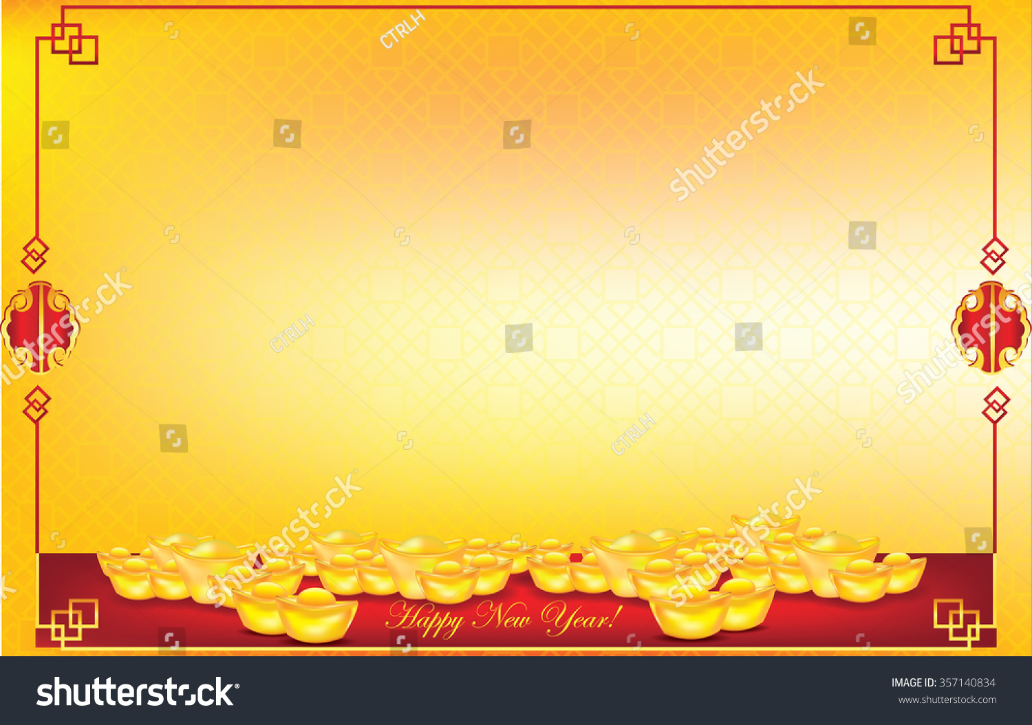 Chinese new year background contains chinese pattern golden nuggets