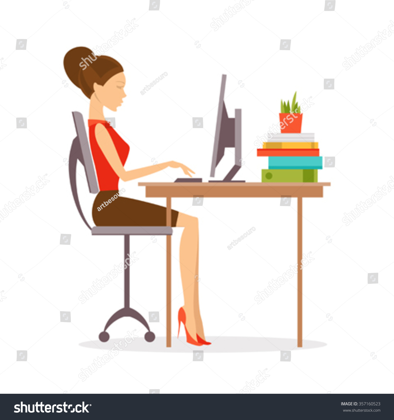 Woman Sitting Computer Correct Position Stock Vector