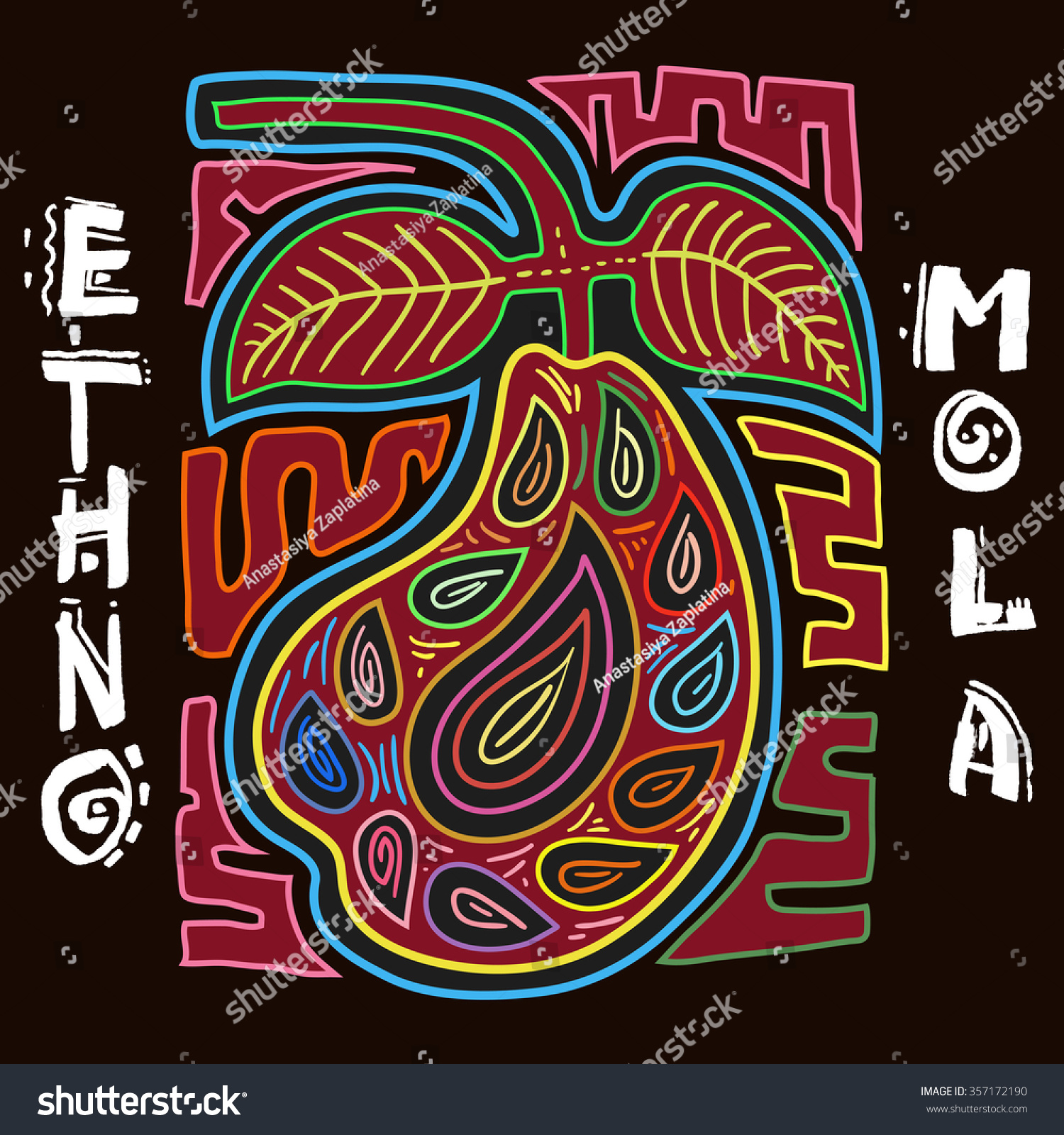 colorful ethnic design element ethno mola stock vector 357172190 shutterstock. Black Bedroom Furniture Sets. Home Design Ideas