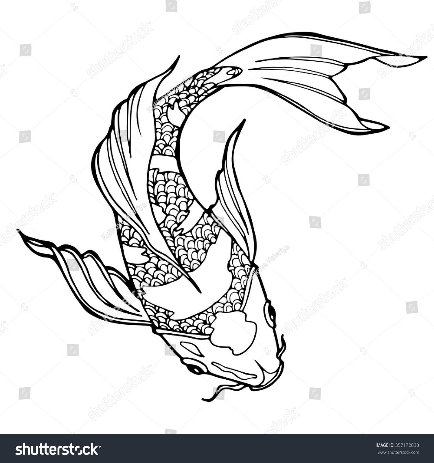 illustration koi carp coloring page stock vector 357172838
