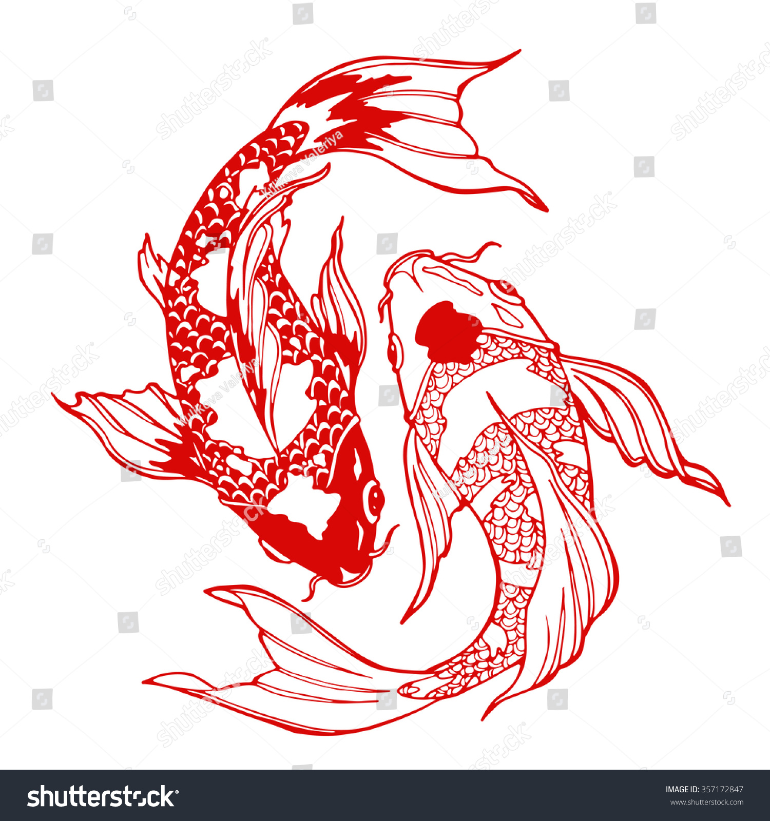Illustration Koi Carp Coloring Page Yin Stock Vector 357172847 ...
