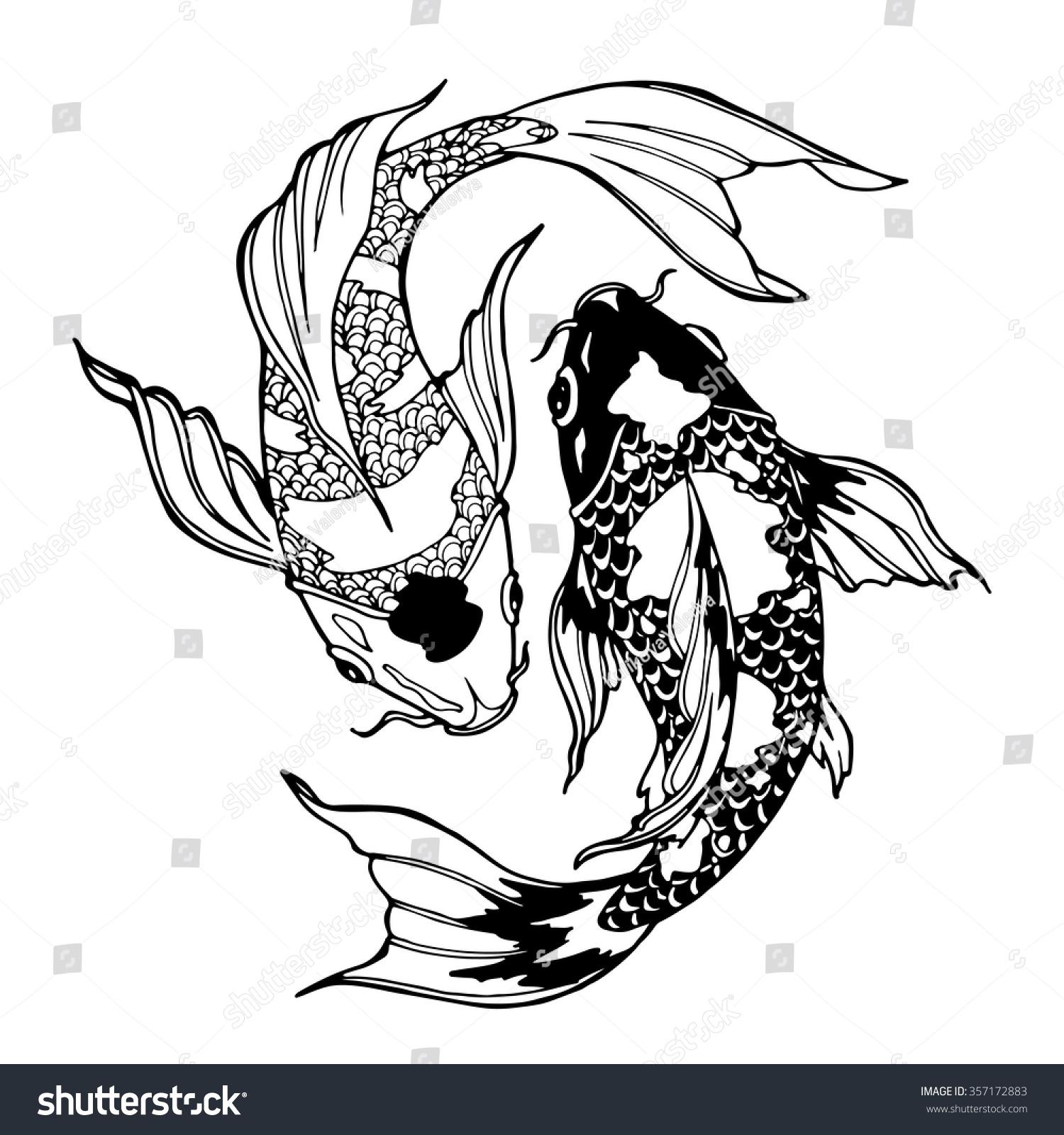 Yin yang coloring sheets - Illustration Of Koi Carp Coloring Page Yin Yang