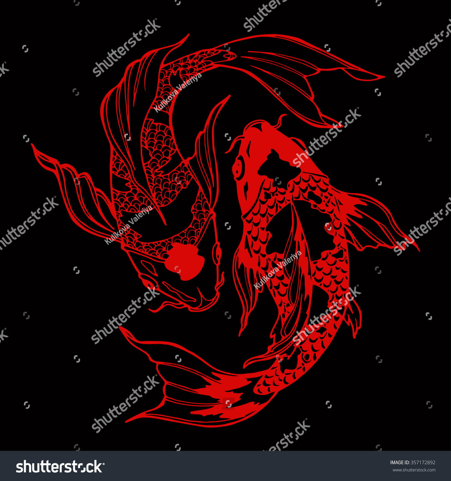 Illustration Koi Carp Coloring Page Yin Stock Vector 357172892 ...