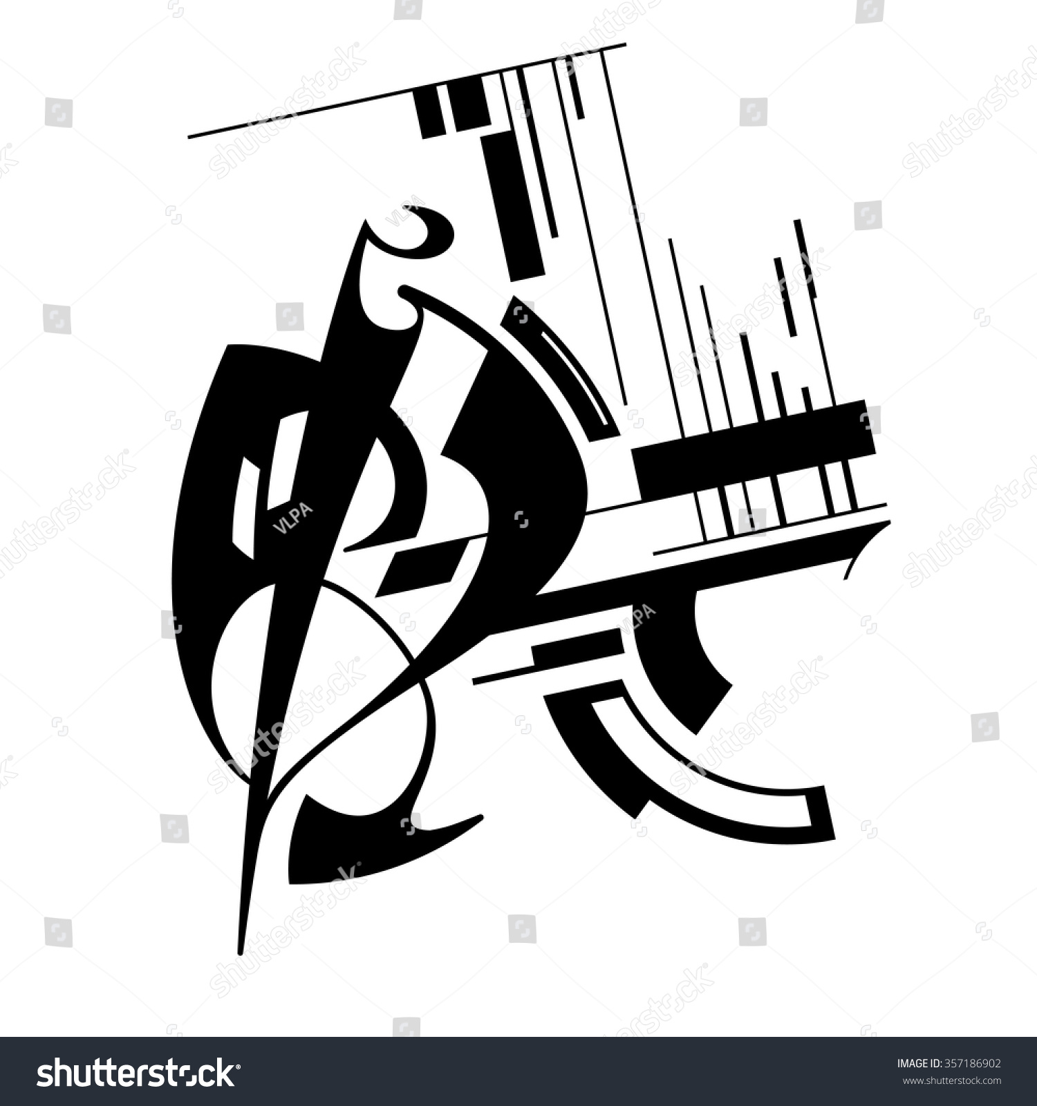 Abstract Expressionism. Spontaneous Vector Art. Monochrome