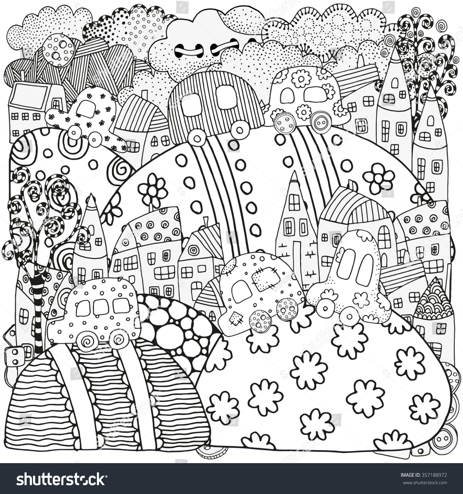 Th the magical city colouring in book - Pattern For Coloring Book With Artistically Houses And Cars Magic City Fields Landscape