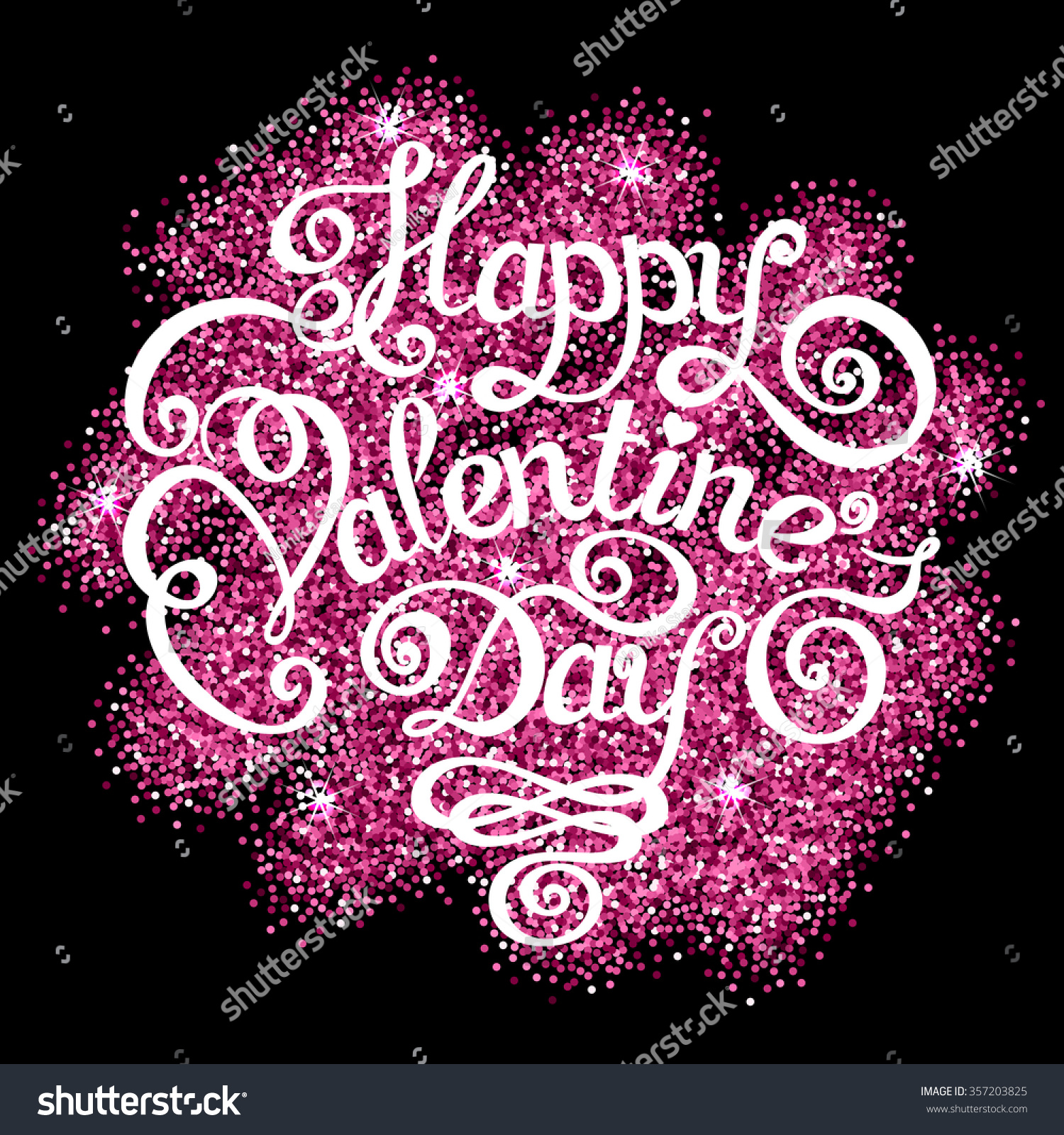 happy valentines day text message with sparkling confetti on black background hand drawn lettering - Happy Valentines Day Text Message