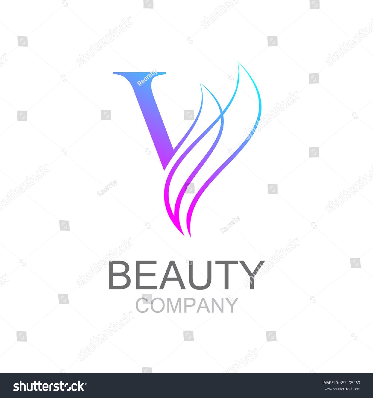 Abstract letter v logo design template stock vector for Hair salon companies